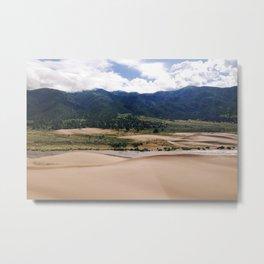 Orange Sand - Green Mountains Metal Print