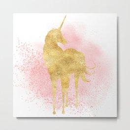 Pink Sparkles Gold Unicorn Metal Print
