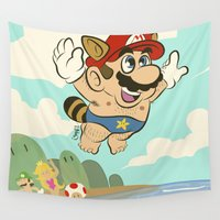 super mario Wall Tapestries featuring Super Mario! by Ismael Álvarez