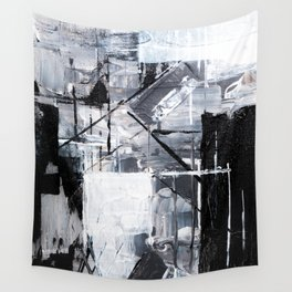 Black & White Abstract Painting Wall Tapestry