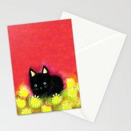 Black kitten Stationery Cards