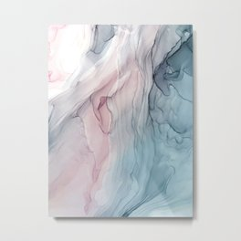 Calming Pastel Flow- Blush, grey and blue Metal Print