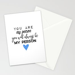 Greys Anatomy - You are my person Stationery Cards
