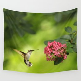 Hummer in Flight Wall Tapestry