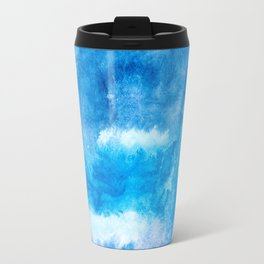 Modern abstract hand  painted blue turquoise ombre watercolor Travel Mug