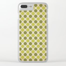 Vintage green circles retro pattern Clear iPhone Case