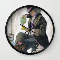 mad hatter Wall Clocks featuring Mad Hatter by Oliver Dominguez