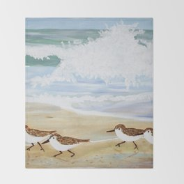 Sandpipers at Emerald Isle Throw Blanket