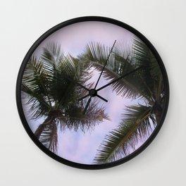 Pink Palm Wall Clock