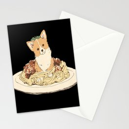 dog in pastabolognese Stationery Cards