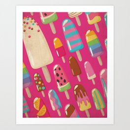 A Rainbow of Popsicles on Magenta Art Print