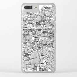 Vintage Map of Bruges (1905) BW Clear iPhone Case