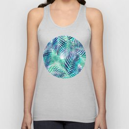 Palm Leaves - Indigo Green Unisex Tank Top