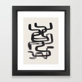 Mid Century Modern Minimalist Abstract Art Brush Strokes Black & White Ink Art Pipe Maze Framed Art Print