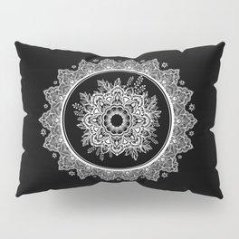 Bohemian Lace Paisley Mandala White on Black Pillow Sham