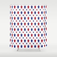 patriotic Shower Curtains featuring Patriotic Stars by Jennifer Agu