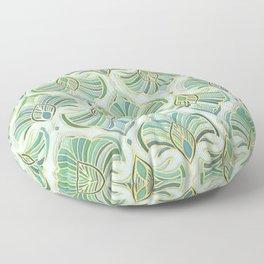 Jade Enamel Art Deco Fans Floor Pillow