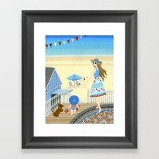 Family vacation at the beach Framed Art Print