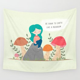 Be down to earth like mushroom; Cute girl sitting on stone Wall Tapestry
