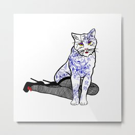 Porcelain Inked Cat Metal Print