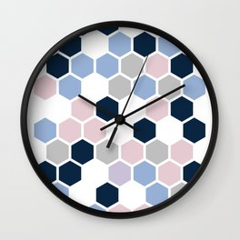 Texture hexagons - Blu&Violet Wall Clock