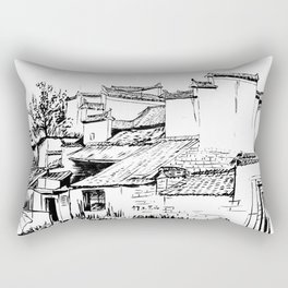 Chinese ink painting of Chinese village Rectangular Pillow