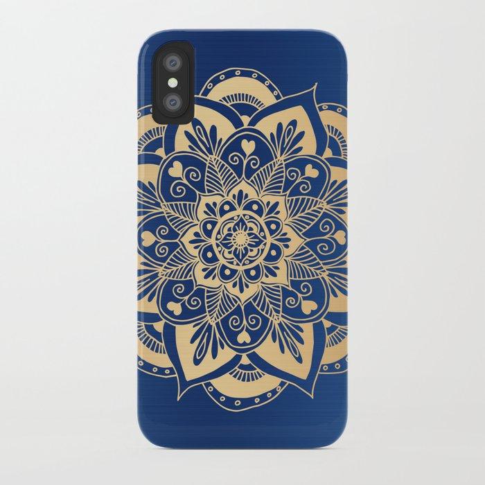 Blue and Gold Flower Mandala iPhone Case