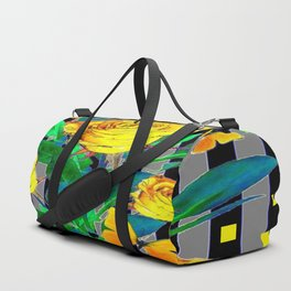 YELLOW SPRING ROSES & BUTTERFLIES WITH YELLOW SQUARES Duffle Bag