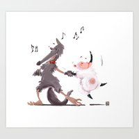 Dance with wolf Art Print