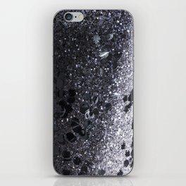Black and Gray Glitter Bomb iPhone Skin