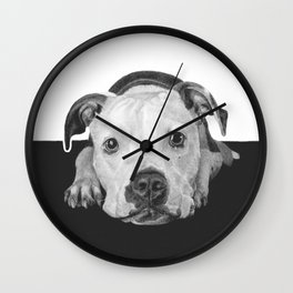 """Black and white puppers """"Cuddly"""" Wall Clock"""