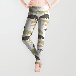 Brown and Green Seal Manatee Silhouette Wave Leggings