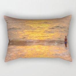 Golden hour at the sea Rectangular Pillow
