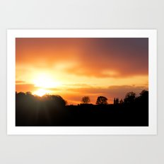 Country Farm Sunset Art Print