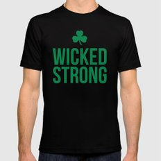 Wicked Strong Green Mens Fitted Tee Black MEDIUM