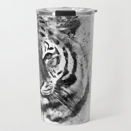 Black And White Half Faced Tiger Travel Mug