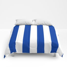 Dark Princess Blue and White Wide Vertical Cabana Tent Stripe Comforters
