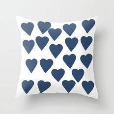 Hearts Navy Throw Pillow