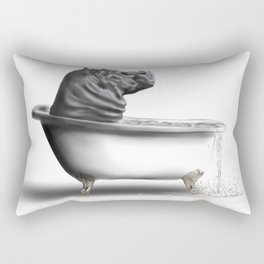 Hippo in Bath Rectangular Pillow