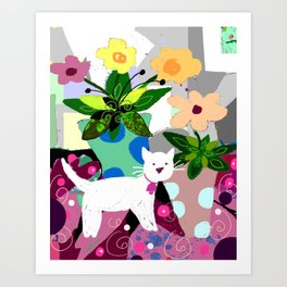 White Kitty and Flowers Art Print