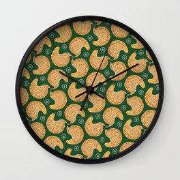 Yellow hen pattern on green Wall Clock