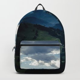 sky, clouds, height, mountains, woods, gleam, from above, darkness Backpack