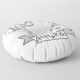 Antaria - Fantasy Map with Wind Rose and Crest Floor Pillow