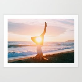 Shirshasana yoga pose Art Print