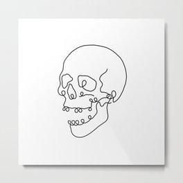 Skull Linework Metal Print
