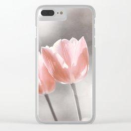 Peach Coral Tulip Photography, Peach Flower Photograph, Coral Grey Nursery Photo Print Clear iPhone Case