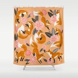 Foxes & Blooms – Melon Palette Shower Curtain