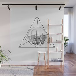 GRAPHIC Geometric. Shape Gray New York in a Bottle Wall Mural