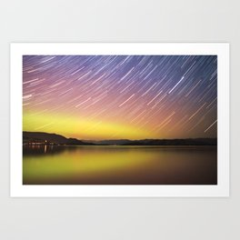 Aurora at Flat Head Lake Art Print