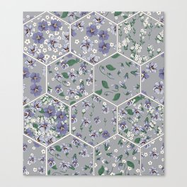 drawing of seamless patchwork pattern with viola flowers Canvas Print